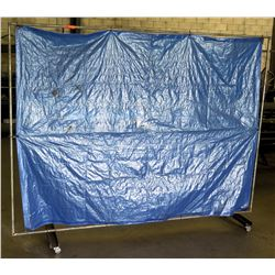 Pipe Rack Frame w/ Stretched Blue Tarp (Temporary Divider)