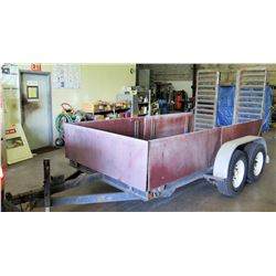 Double Axle Flatbed Utility Trailer w/Wood Sides. No title, documents or paperwork will be included