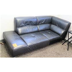 "Black Faux Leather Chaise/Loveseat (79""L x 37"" Depth, 33"" Back Ht"