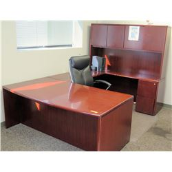 "Wooden Modular Desk Ensemble w/Hutch & Executive Chair (largest desk piece 6' x 39"", hutch piece 6'"