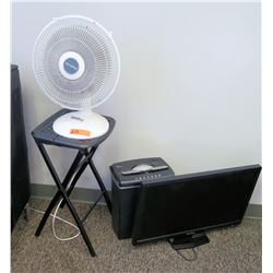 Paper Shredder, Fan, Folding Table & Flatscreen Monitor