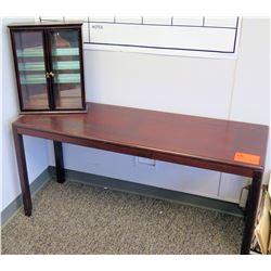Wooden Table & Small Display Case w/Glass Door
