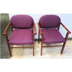 Pair: Purple Wooden Reception Armchairs