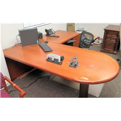 "Wooden ""L"" Shaped Desk with Office Chair"