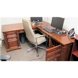 Wooden  L  Shaped Desk with Cabinets & Office Chair (larger desk piece 6' W x 34  D)
