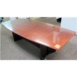 Contoured Wooden Glass-Top Conference Table