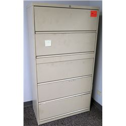 Beige Lateral 5-Drawer Metal File Cabinet