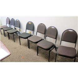 Qty 7 Gray Metal Office/Banquet Chairs