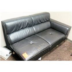 "Black Faux Leather Chaise/Loveseat (70""L x 36"" Depth, 33"" Back Ht)"