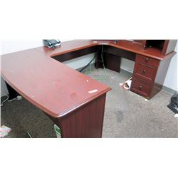 "Wooden ""U"" Shaped Desk Ensemble w/ Cabinets (larger desk piece 64"" W x 28"" D)"
