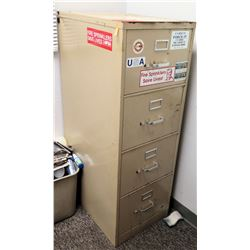 "Beige 4-Drawer Metal File Cabinet 18""L x 26.5"" W x 52"" H"