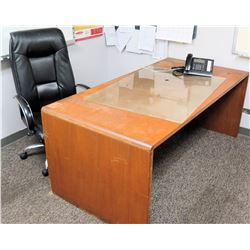 "Wooden Desk and Black Office Chair, 71""L x 36"" W x 29"" H"