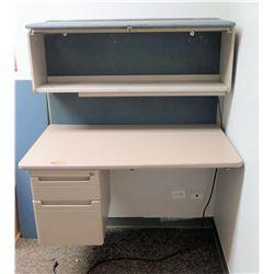 Wall Mounted Desk with Overhead Shelf Storage