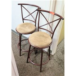Pair: High-Back Metal Frame Bar Chairs (25 from floor to top of seat)