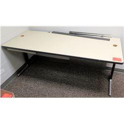 White Work Table w/Metal Frame