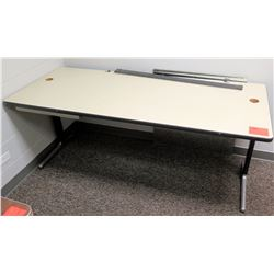 White Work Table w/Metal Frame, 71  x 29  x 28.5