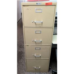 "Beige 4-Drawer Metal File Cabinet 18""L x26.5"" W x 52"" H"