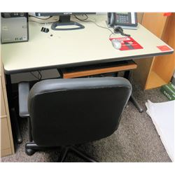 "Small Desk w/Keyboard Tray 47.5""L x 29""W x 29"" H & Office Chair"