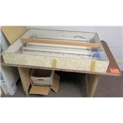 "Utility Table w/Metal Base 59"" x 36"" x 30"" H & Ceiling Fluorescent Lighting Fixture"