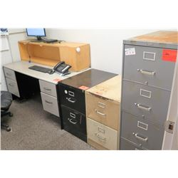 "Desk (59.5"" x 30"" x 28.5"") w/File Cabinets, Chair, 2 Two-Drawer Cabinets, Four-Drawer Cabinet"