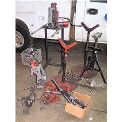 Qty 2 Ridgid 918 Hydraulic Groover, Misc. Parts & Pipe Stands