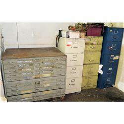 Qty 3 Metal File Cabinets, Blueprint Cabinet, Refrigerator & Metal Desk