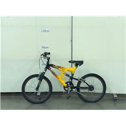 YELLOW INFINITY BANDITO FULL SUSPENSION KIDS MOUNTAIN BIKE WITH A MISSING PEDAL