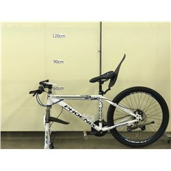 WHITE PHOENIX FRONT SUSPENSION MOUNTAIN BIKE WITH FRONT AND REAR DISC BRAKES, MISSING FRONT WHEEL