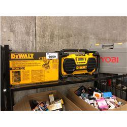DEWALT DRIVER/HAMMER DRILL COMBO KIT, DEWALT DC012 WORK SITE CHARGER/RADIO AND RYOBI ANGLE GRINDER