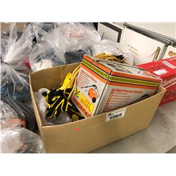 BOX WITH ASSORTED EXTENSION CORDS, SEALANT, WORK GLOVES & ELECTRIC PRESSURE WASHER