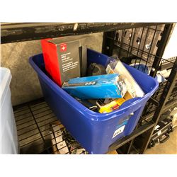 ASSORTED HOUSEHOLD ITEMS INC. BBQ TOOL SETS, LIGHTS, PHONE CHARGERS AND MORE, BIN NOT INCLUDED