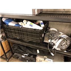 2 HEAVY DUTY ELECTRIC FANS AND BIN OF ASSORTED TOOLS/GARAGE PRODUCTS, BIN NOT INCLUDED