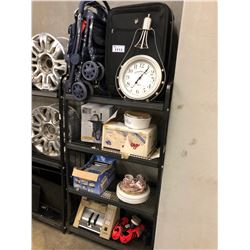 HOUSEHOLD CONTENTS ON RACK INC. SUITCASE, STROLLER, DISHWARE AND MORE