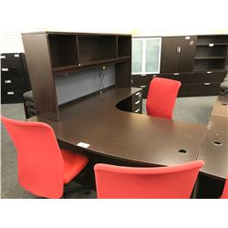 DARK ESPRESSO BOW FRONT L-SHAPE EXECUTIVE DESK WITH HUTCH, RIGHT HAND