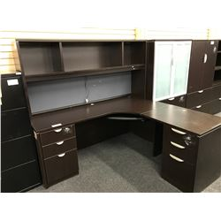 DARK ESPRESSO 6' X 6' CORNER WORKSTATION WITH HUTCH