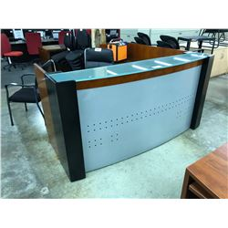 CHERRY 6' X 6' BOW FRONT GLASS TOP RECEPTION DESK
