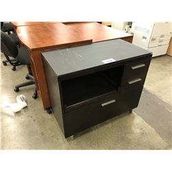 BLACK 3 DRAWER STORAGE CABINET WITH SLIDE OUT COMPARTMENT