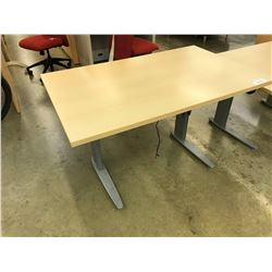 MAPLE 4' MOTORIZED ADJUSTABLE HEIGHT TECH DESK, MISSING POWER SUPPLY