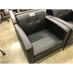 BLACK LEATHER CLUB STYLE RECEPTION CHAIR, CONDITION ISSUES