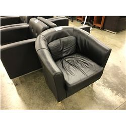 BLACK LEATHER CLUB STYLE LOUNGE CHAIR, STYLE 2