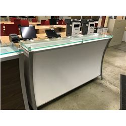 WHITE FRONT 6' GLASS TOP ILLUMINATED RECEPTION COUNTER
