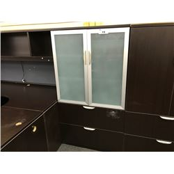 5.5' 2 DRAWER LATERAL FILE CABINET WITH DOUBLE DOOR FROSTED GLASS STORAGE CABINET