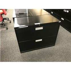 BLACK 2 DRAWER LATERAL FILE CABINET