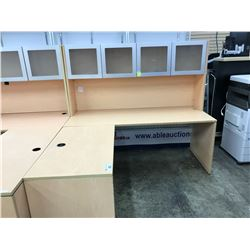 MAPLE 6' X 6' L-SHAPE EXECUTIVE DESK WITH FROSTED GLASS 4 DOOR HUTCH