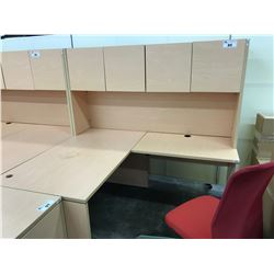 MAPLE 5.5' X 5' L-SHAPE EXECUTIVE DESK WITH HUTCH