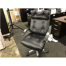 BLACK LEATHER TUFTED HIGH BACK EXECUTIVE CHAIR