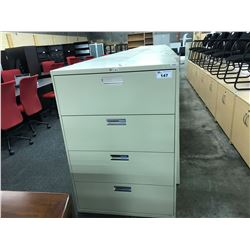 HONE BEIGE 4 DRAWER LATERAL FILE CABINET