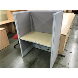 GROUP OF 10 BACK TO BACK 36'' MAPLE CALL CENTER WORK STATIONS