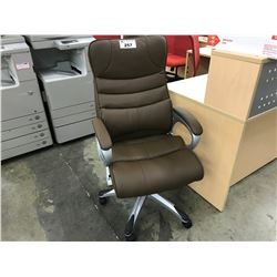 BROWN LEATHER TUFTED HIGH BACK EXECUTIVE CHAIR