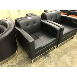 BLACK LEATHER CLUB STYLE RECEPTION CHAIR